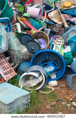The heap of plastic is gathered to be recycled.