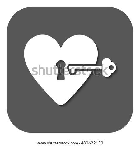 Heart Key Icon Heart Key Symbol Stock Illustration 480622159