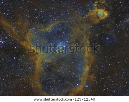 The Heart Nebula, IC 1805, Sh2-190, lies some 7500 light years away from Earth and is located in the Perseus Arm of the Galaxy in the constellation Cassiopeia. - stock photo