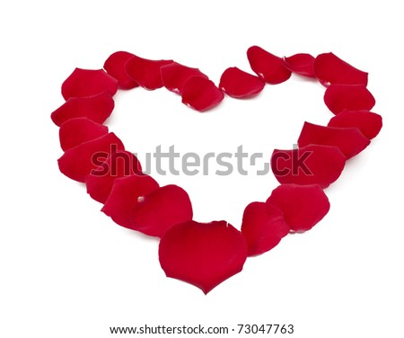 the heart of red rose petals on white background - stock photo