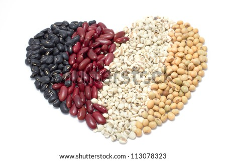 the heart of varieties of beans on white background, Job Tear, Soy Bean, Black Bean,  Red Kidney bean