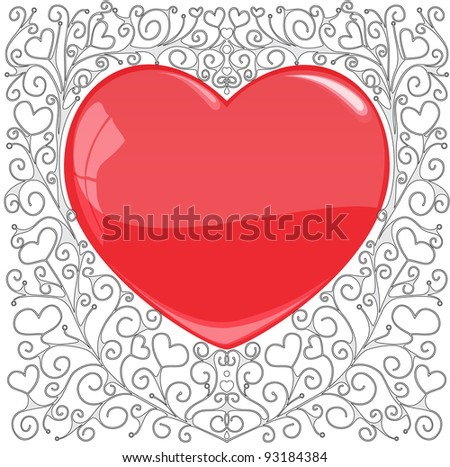 The heart on a hand-drawn patterned background, the raster version of image - stock photo