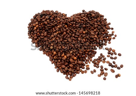 The heart symbol made from coffee beans