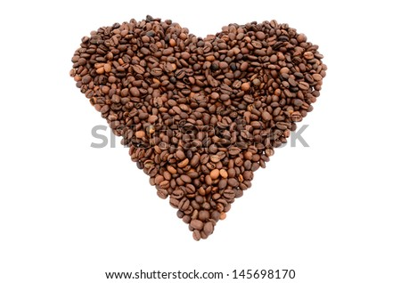 The heart symbol made from coffee beans isolated on white