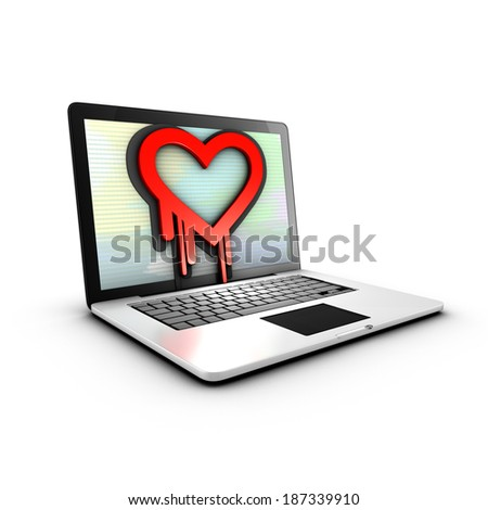 The Heartbleed bug is a vulnerability in cryptographic software library - stock photo