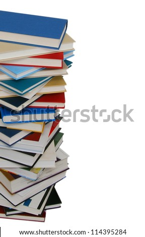 The heavy pile of books isolated white background - stock photo