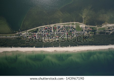 The Hel peninsula, aerial view of city Chalupy in Poland - stock photo