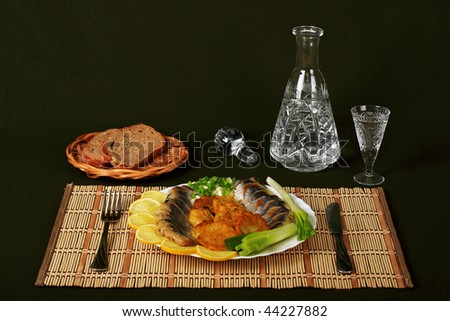 The herring is fine snack to the cooled vodka - stock photo
