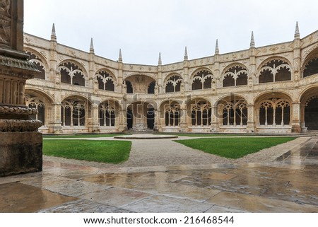 The Hieronymites Monastery (Mosteiro dos Jeronimos), located in the Belem district in Lisbon, Portugal. UNESCO World Heritage Site.  - stock photo