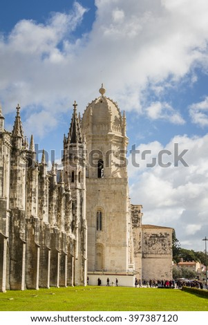 The Hieronymus monastery, a popular place for tourist in Belem in Lisbon, Portugal