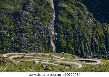 The high altitude Manali-Leh road in Lahaul valley in the Indian state of Himachal Pradesh in Indian Himalayas - stock photo