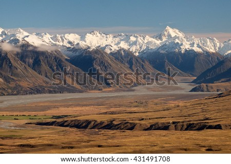 The High And Snowy Southern Alps.  Hakatere Conservation Park, New Zealand - stock photo