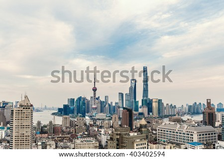 The high angle view of Shanghai Skyline with blue sky and white clouds.