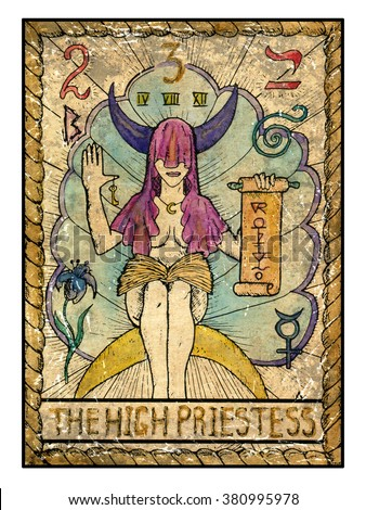 The high priestess.  Full colorful deck, major arcana. The old tarot card, vintage hand drawn engraved illustration with mystic symbols. Woman with face closed by hood holding scroll  - stock photo