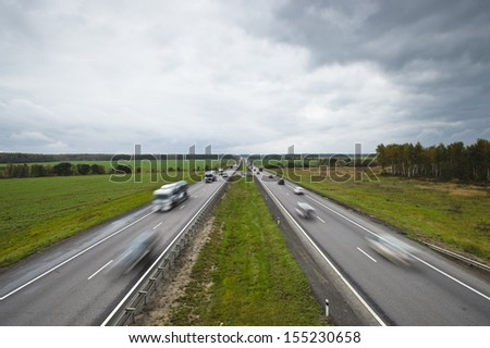 The high-speed automobile highway in rural areas going to a distance