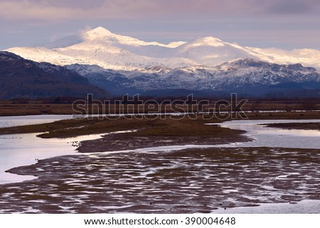 The highest mountain in Wales - Snowdon.  - stock photo