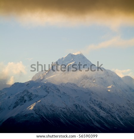 The highest peak in Australasia is Mt Cook, at 3755m. Aoraki / Mt Cook National Park, New Zealand.