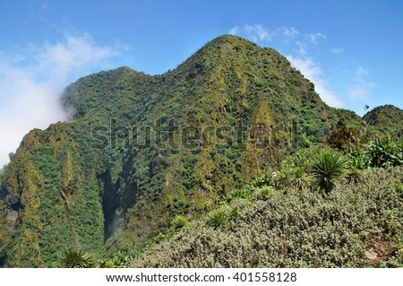 The highest peak of Mount Sabyinyo, Uganda - stock photo