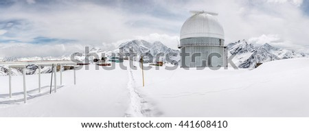 The highest point in Europe. Elbrus 5642 meters. Terskol Observatory in mountains - stock photo