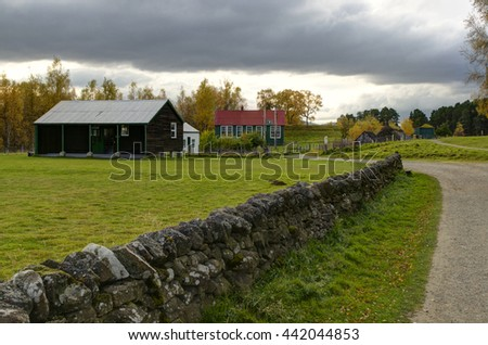 The Highland Folk museum is in Newtonmore, a small town in the Cairngorms, Highland Scotland/Highland Folk Museum/