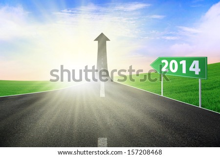 The highway road to new future, symbolizing as the way to the new journey in 2014