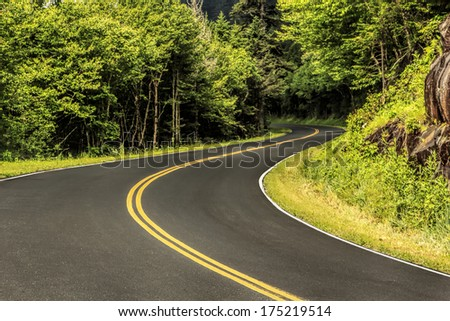 The highway through the natural forest of the Great Smoky Mountains National Park - stock photo