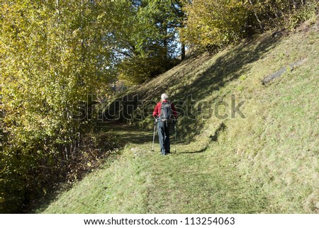 The hiker - A man walking on mountain path