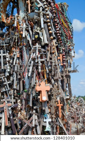 The Hill of Crosses (Kryziu kalnas), a famous site of pilgrimage in northern Lithuania, near the Lithuanian town of Siauliai - stock photo