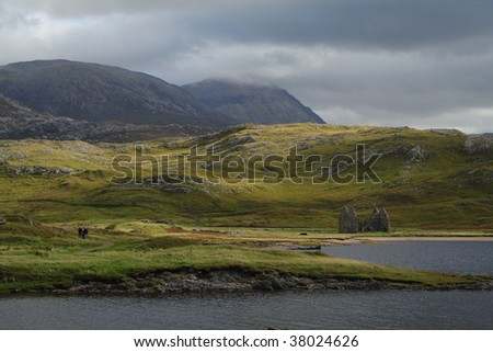 The hills flanking Loch Assynt, Scotland - stock photo