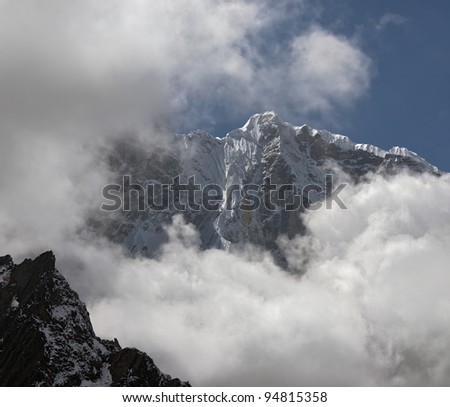 The himalaya peak in valley Chhukhung - Nepal, Himalayas