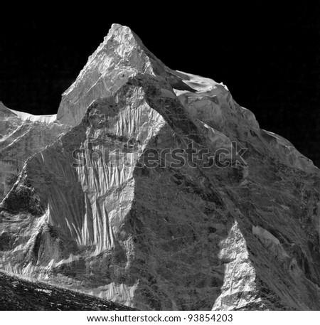 The himalaya peaks (black and white) - Nepal - stock photo