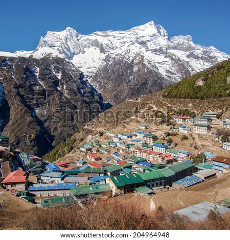 The Himalayan settlement of Namche Bazaar, an important sherpa village along the Everest Base Camp Trek in Nepal. - stock photo