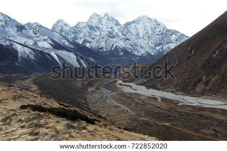 The Himalayas on the route to Everest Base Camp.
