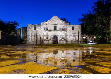 the Historic Alamo at twilight, San Antonio, Texas.  - stock photo