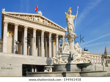 The historic building of the Austrian Parliament in Vienna - stock photo