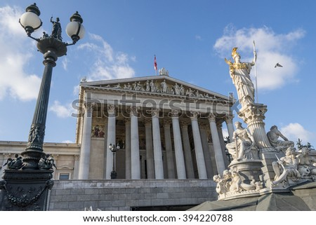 The historic building of the Austrian Parliament in Vienna