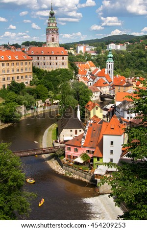The historic center of Czech Krumlov with Castle, Czech republic