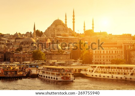The historic center of Istanbul at sunset. Golden Horn, Turkey. - stock photo