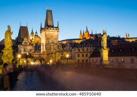 The historic center of Prague, ancient architecture and cultural heritage in evening, Czech Republic