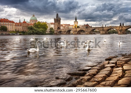 The historic center of Prague, ancient architecture, and cultural heritage/The center of Prague, river and white swans - stock photo