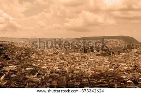 The Historic Center Of Quito, Ecuador, South America, Black And White Filter  - stock photo