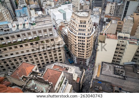 The historic center of Sao Paulo seen at the top of the Martinelli Building.