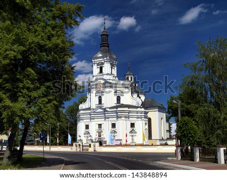 The historic church of St Anne's Basilica and Shrine of Our Lady of Koden along the Bug River in Poland - stock photo