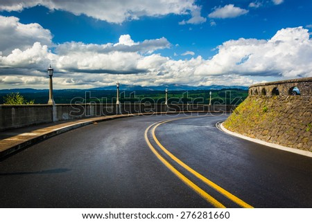 The Historic Columbia River Highway at the Vista House, in the Columbia River Gorge, Oregon. - stock photo