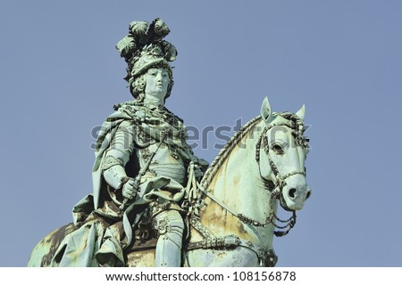 """The historic equestrian monument of """"Jose"""" on the place """"Comercio"""" of Lisbon in Portugal - stock photo"""