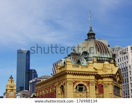 The historic Flinders station in Melbourne in Victoria in Australia - stock photo