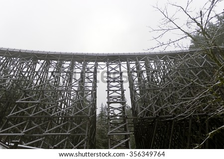 The Historic Kinsol Trestle 1 also known as the Koksilah River Trestle, is a wooden railway trestle located on Vancouver Island north of Shawnigan Lake in the Canadian Province of British Columbia.  - stock photo
