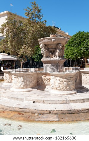 The historic Morosini Fountain in Lions Square, Heraklion, Crete, Greece, which was built in 1628 to supply drinking water to the city.
