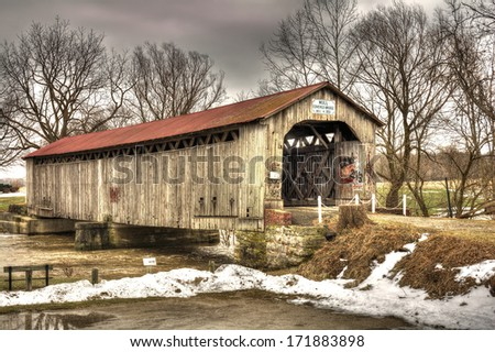 The historic Mull Covered Bridge in rural northwest Ohio. Built in 1851 the bridge measures 100 feet in length.