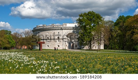 """The historic museum """"Triva"""" of Ingolstadt in Bavaria in the springtime - stock photo"""